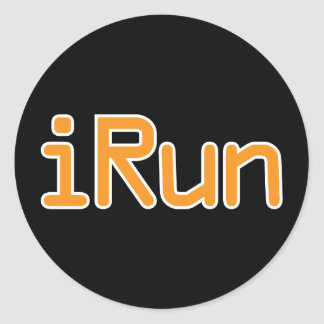 iRun - Orange (White outline) Classic Round Sticker