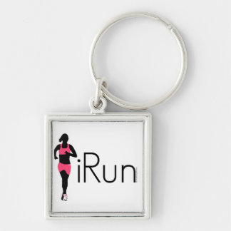 iRun Silver-Colored Square Keychain