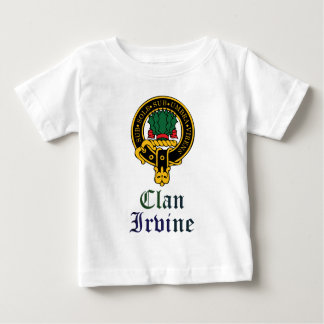 Irvine scottish crest and tartan clan name baby T-Shirt