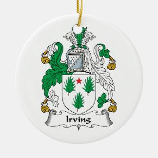Irving Family Crest Round Ceramic Ornament