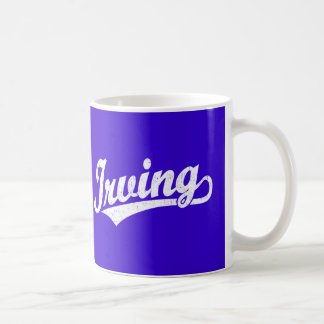 Irving script logo in white distressed coffee mug