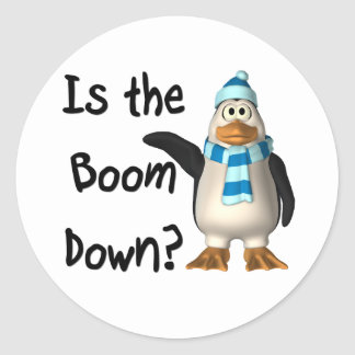 Is the boom down? With penguin Round Sticker