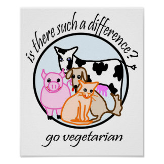 Is there such a difference? Go vegetarian. Poster