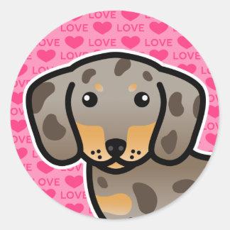 Isabella And Tan Dapple Smooth Coat Dachshund Dog Round Sticker