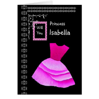ISABELLA - Be My Flower Girl with PINK Dress Card