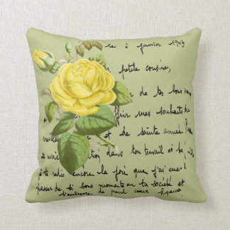 Isabella Gray Yellow Redouté Rose Throw Pillow