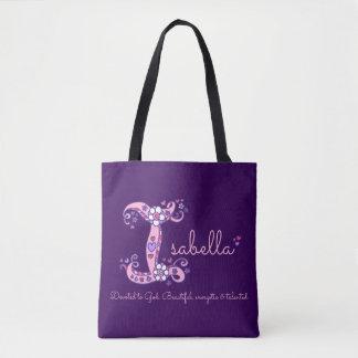 Isabella letter I monogram art & name meaning bag