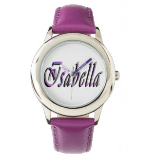 Isabella, Name, Logo, Girls Purple Leather Watch. Watch