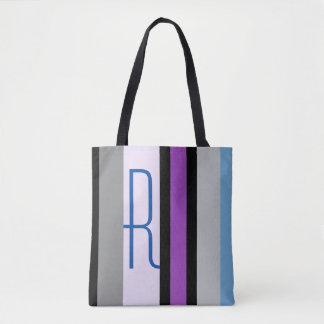 Isabella Stripe Tote Bag w/Initial in Fuschia