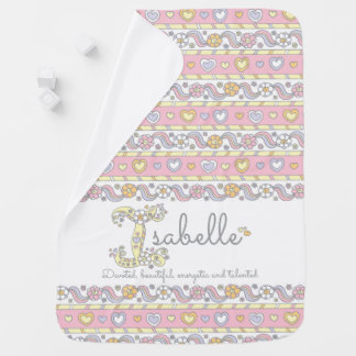 Isabelle name meaning hearts flowers baby blanket