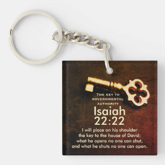 Isaiah 22:22 Key to the House of David Bible Verse Keychain