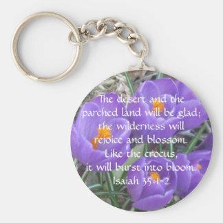 Isaiah 35:1-2 ~ The Crocus Basic Round Button Keychain
