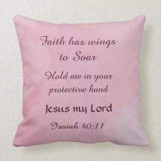 Isaiah 40:11 Faith Decorative Pillow Pink Dream