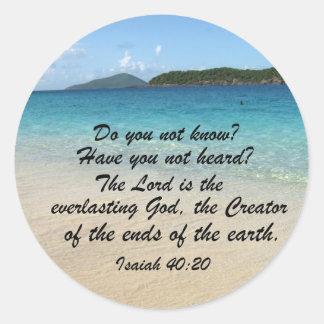 Isaiah 40:20 classic round sticker