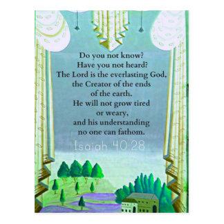 Isaiah 40:28 Inspirational BIBLE verse Postcard