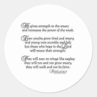 Isaiah 40:29-31 classic round sticker