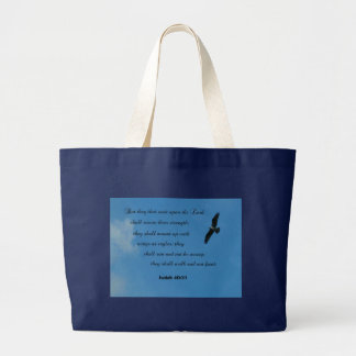 Isaiah 40:31 But they that wait upon the Lord... Large Tote Bag