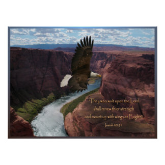 Isaiah 40:31 Eagle Scripture Poster Print