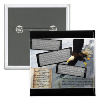 ISAIAH 40:31 MOUNT UP WITH WINGS AS EAGLES 2 INCH SQUARE BUTTON