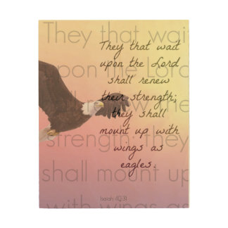 Isaiah 40:31 text with flying eagle wood wall art wood canvas
