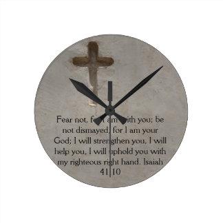 Isaiah 41:10 Inspirational Bible Verse Round Clock