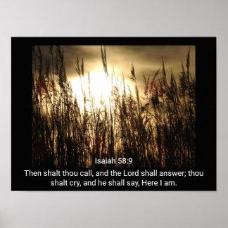 Isaiah 58:9 - Here I am - Art Print