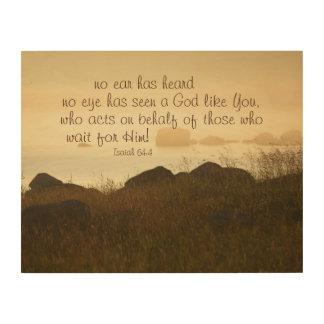 Isaiah 64:4 Bible Verse Beautiful Ocean Shorline Wood Canvases