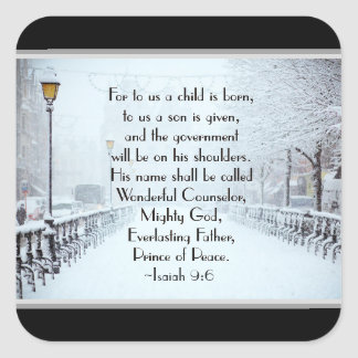 Isaiah 9:6 For to us a Child is Born, Christmas Square Sticker