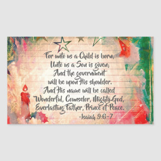 """Isaiah 9:6 """"For unto us a Child is Born"""" Christmas Sticker"""