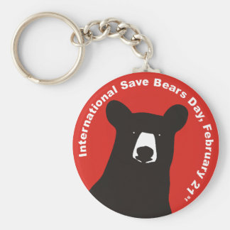 ISBD BLACK BEAR BASIC ROUND BUTTON KEYCHAIN