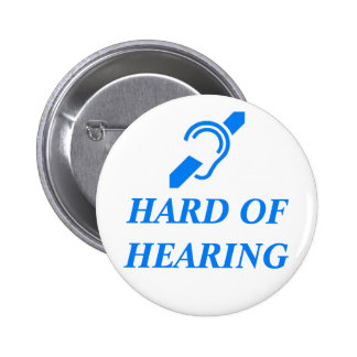 ISD Hard of Hearing, Blue on White 2 Inch Round Button