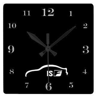 ISF white brushstroke logo Square Wall Clock