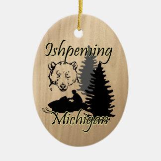 Ishpeming Michigan Snowmobile Bear Ceramic Ceramic Ornament