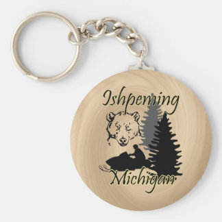Ishpeming Michigan Snowmobile Bear Wood Look Keychain