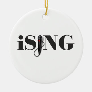 iSING Microphone Performer Round Ceramic Ornament