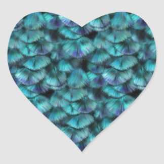 Isis blue feather pattern heart sticker