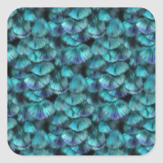 Isis blue feather pattern square sticker