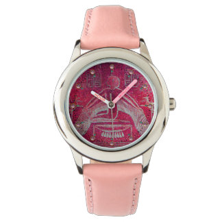 ISIS,Egyptian Goddess Antique Red Pink Hieroglyphs Watch