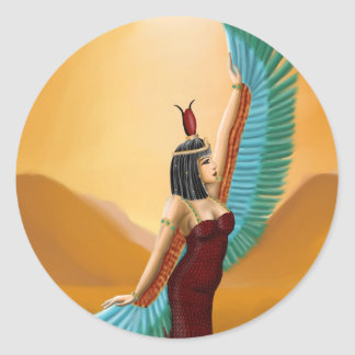 Isis Egyptian Pagan mother goddess digital art Classic Round Sticker