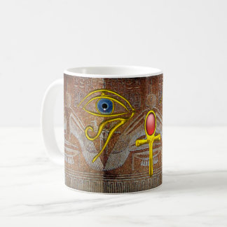 ISIS,GOLD ANKH AND BLUE HORUS EYE Brown Coffee Mug