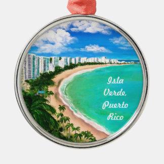 Isla Verde, Puerto Rico Silver-Colored Round Ornament