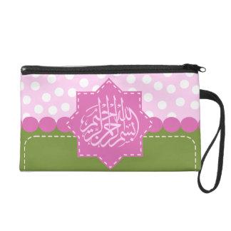 Islam Bismillah Arabic polka dot pink Islamic Wristlet