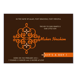 Islamic Aqiqah Aqeeqah invitation baby key ornate