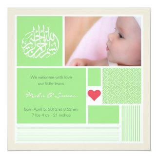"Islamic baby aqiqah announcement invitation twins 5.25"" square invitation card"