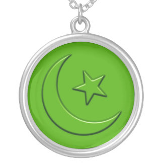 Islamic Embossed Moon & Star Silver Plated Necklace