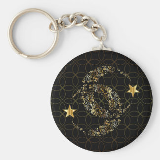 Islamic Floral Moon and Star Keychain
