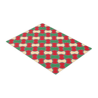 Islamic geometric bow ties in red and green doormat