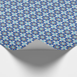 Islamic geometric Moroccan pattern in blue Wrapping Paper