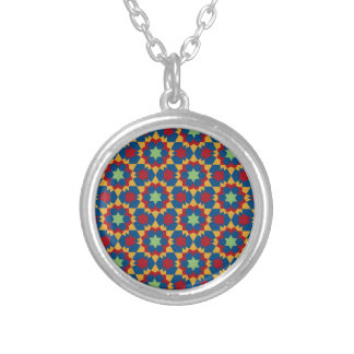 islamic geometric pattern silver plated necklace