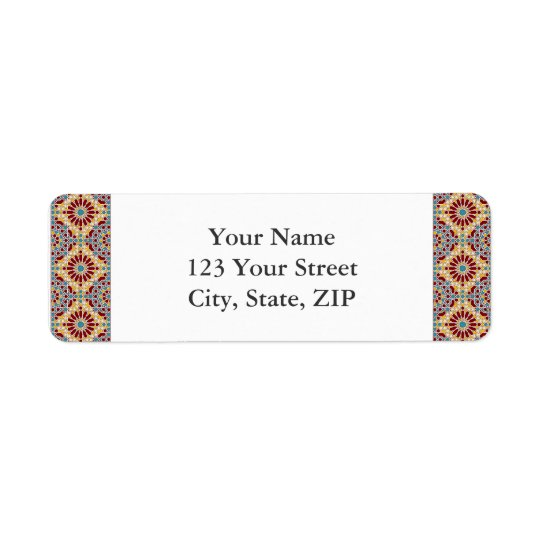 Islamic geometric patterns return address label